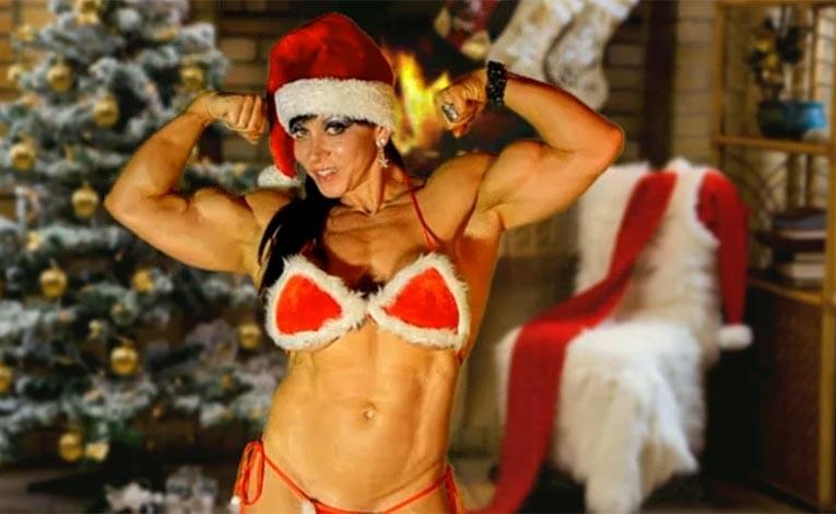 Janas Hot White Christmas Bodybuilding Posing Routine